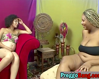 Pregnant ebon lesbo chicks are exceedingly lustful