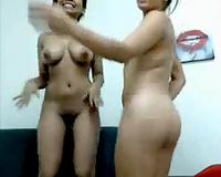 Amateur lesbo black skin allies on web camera flashing goodies