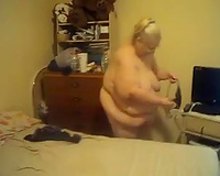 Granny of my GF receives nude in her bedroom and grinds on daybed