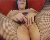 Amateur large breasted dark head in fishnet stuff was sweet her own vagina