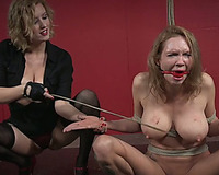 Busty white golden-haired milf tied and caned naked by master mistress