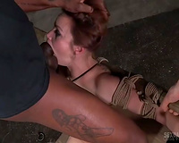 Sensational durable white white wife tied and facefucked hard