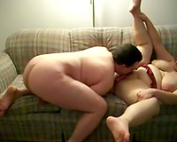 Eating and toying my obese Married slut on the ottoman in front of web camera