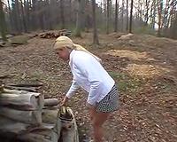 Kinky outdoors sex with my hawt cum loving blond boss slutwife