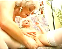 Lewd mature blondes have a fun licking and toying every other's pussies