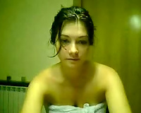 Sexy dark brown on the webcam is fresh just out of shower
