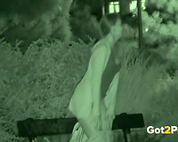 Amazing nightvision episode with a gal pissing in a park