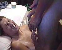 Comely white women takes smutty facial getting her charming face overspread with cum