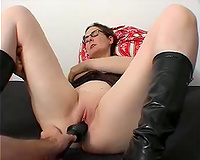 Petite brunette hair sweetie is close to rogasm during dildofuck