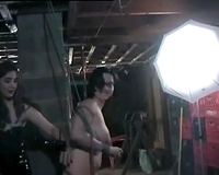 Lesbian femdom fuckfest with some BDSM elements with breasty bitches