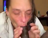Ugly granny with flat marangos eating large black weenie