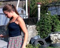 Redhead elegant hot cheating wife flashes her hirsute cookie and piddles on the road