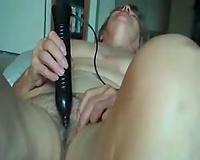 65 years old grandma of my GF plays with large dark dildo