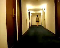 Skanky girlfriend flashing her flat mambos on the web camera in the hotel hallway