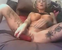 All tattooed and super concupiscent cam blond used sextoy for her twat