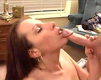 Heavenly cute brunette hair girlfriend blows my pecker in advance of facial