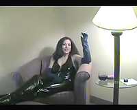 Delightful and taskmaster milf dirty slut wife in latex outfit smokes and teases me