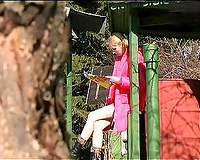 Cute pale skin juvenile blondie spied with webcam in the park