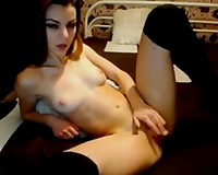 Leggy gorgeous web camera dark brown babe in nylons fingerfucked her vagina