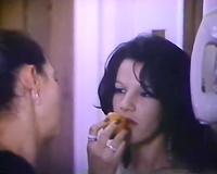 Brunette naughty amateur wife is fed with a dick and creampied