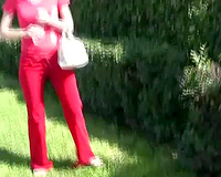 Lady in red is such a barefaced freak in public daytime