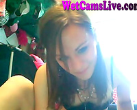 Hot legal age teenager tries to make herself squirt in front of her webcam