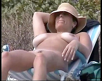 Incredible dilettante white bosomy playgirl on the nudist beach
