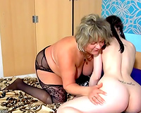 Pale skin dark brown youthful beauty with big beautiful woman lesbo cougar