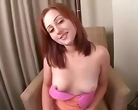 Zealous red haired nympho flashed her charming bum on buddy's livecam