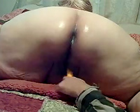 Poking this lascivious older chunky bitch in the wazoo with a vibrator