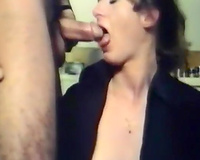 Filthy vintage white milf having indecent three-some in the kitchen
