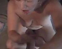 Beautiful golden-haired hotwife getting one of her first facual cumshots