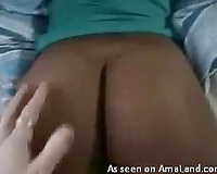 I am teasing myself by rubbing and touching the booty of my swarthy GF