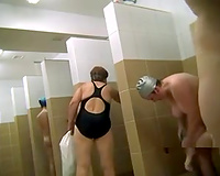 Lots of all natural lascivious Russian ladies take a shower on hidden webcam