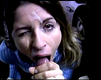 Naughty white cum loving milf acquires facial on the parking lot