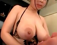 Big boobed hoe rubbing large knob betwixt her billibongs in non-professional episode