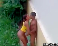 Young Brazilian couple having sex over my abode outdoors