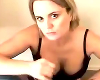 Charming white wife gives deepthroat oral job in POV