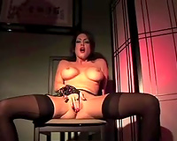 Brunette scorching hawt milf amateur wife in hot underware masturbating