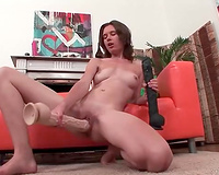 Several massive toys are used by lewd leggy dark brown to masturbate madly