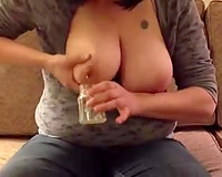 Homemade solo with my lactating Married slut milking her titties