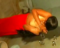 Chunky Indian dilettante slutty wife filmed in the shower room