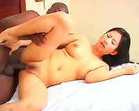 Asian lascivious sweetheart fucks with brutal African dawg at 1st