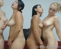 Amazing group of sexy white sexy lesbian babes naked on web camera