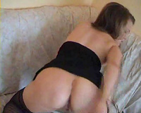 Charming dark brown blue eyed girlfriend masturbates her taut wet crack