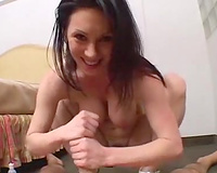 My dark brown sexually excited girlfriend jerking off and having anal sex on top of me