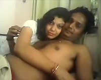 Horny dilettante Indian aged pair spooning in front of cam