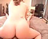 Saucy Caucasian honey with perky tits riding me on top