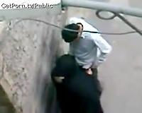 Slutty Arab white women in dark hijab caught on livecam giving head