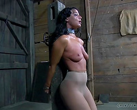 Filthy bitch chained to the post and whipped in BDSM style